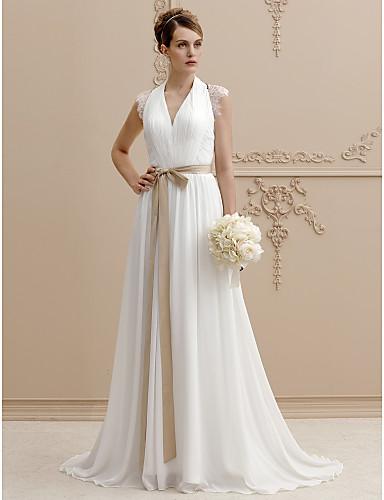 Linha A Princesa Decote V Cauda Escova Chiffon Renda Vestidos de noiva personalizados com Miçangas Renda Faixa / Fita de LAN TING BRIDE®