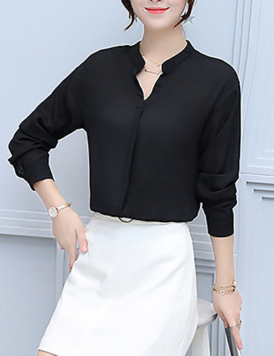 Women's Going out Casual Shirt - Solid Colored V Neck / Fall / Winter