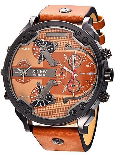 Men's Wrist Watch Quartz 30 m Hot Sale Genuine Leather Band Analog Casual Fashion Black / White / Blue - Khaki Black / White Black / Rose Gold
