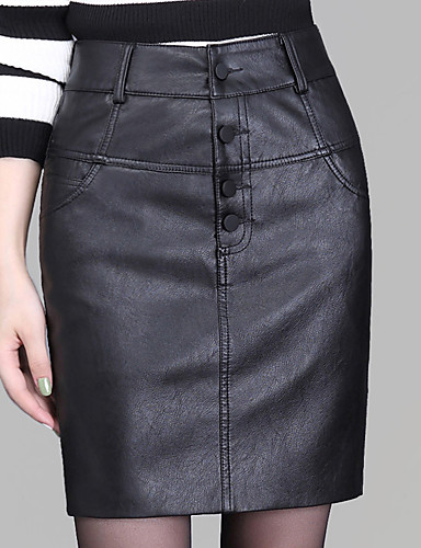 Women's Plus Size Bodycon Skirts - Solid Colored / Slim