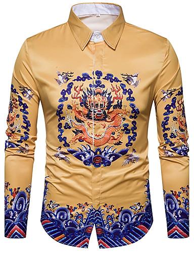 Men's Street chic Shirt Print / Long Sleeve