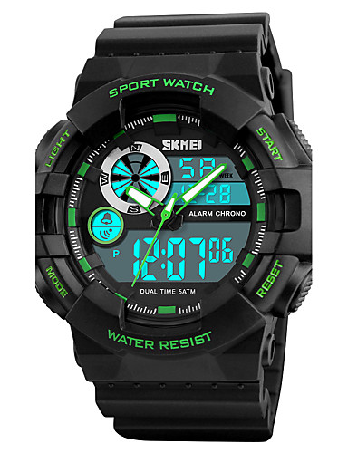 SKMEI Men's Sport Watch / Military Watch / Wrist Watch Japanese Alarm / Calendar / date / day / Chronograph PU Band Luxury Black / Green / Water Resistant / Water Proof / Luminous / Dual Time Zones
