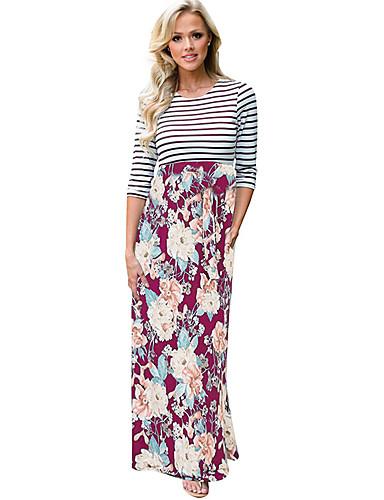 Women's Beach Boho Cotton Shift Dress - Striped / Floral / Patchwork Maxi
