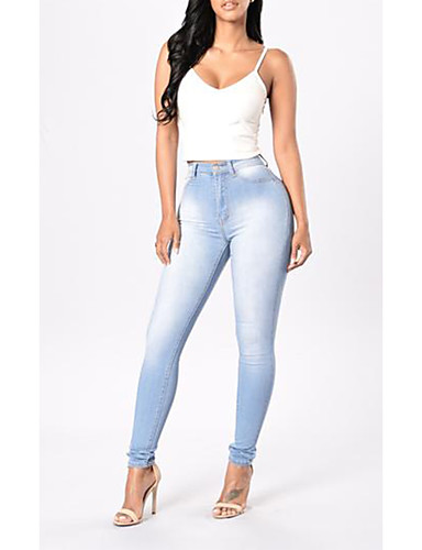 Women's Street chic Skinny Jeans Pants - Solid Colored / Spring / Summer / Fall