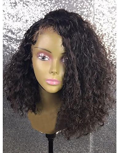 billige Blondeparykker med 250 % tetthet-Ekte hår 360 Frontal Parykk Asymmetrisk frisyre Side del Med babyhår stil Brasiliansk hår Parykk 250% Hair Tetthet Dame Kort Medium Lengde Blondeparykker med menneskehår ELVA HAIR / Naturlig hårlinje