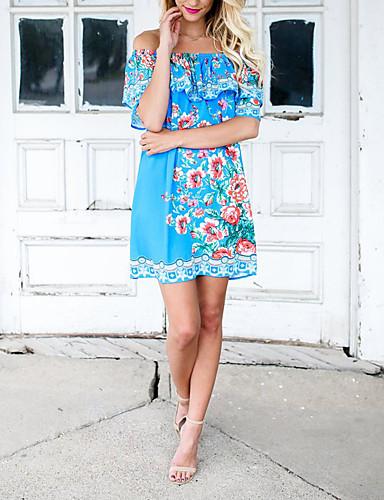 Women's Loose Sheath Dress - Floral Boat Neck