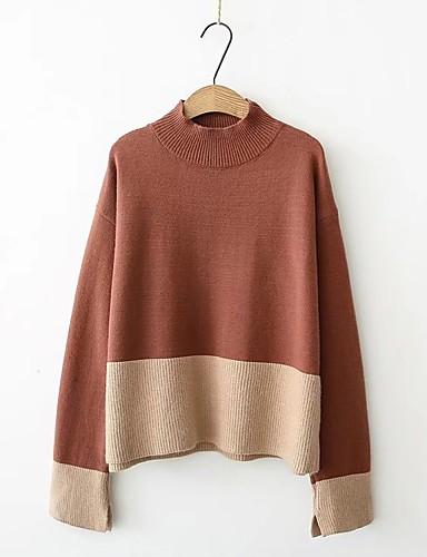 Damen Standard Pullover-Lässig/Alltäglich Einfarbig Rollkragen Langarm Wolle Andere Dünn Dehnbar