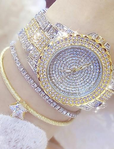 voordelige Trendy Horloge-Dames Luxueuze horloges Modieus horloge Unieke creatieve horloge Japans Kwarts Roestvrij staal Zilver / Goud 30 m Vrijetijdshorloge Analoog Amulet - Goud Zilver Goud / Zilver