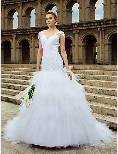 Mermaid / Trumpet V Neck Chapel Train Lace Tulle Wedding Dress with Beading Lace Tiered by LAN TING BRIDE®