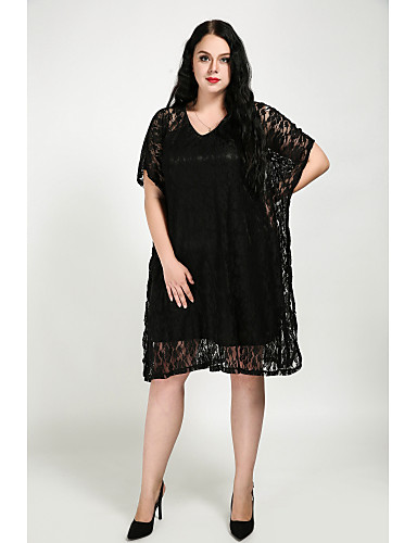 Womens Plus Size Batwing Sleeve Cotton Loose Loose Dress Solid