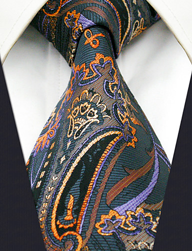 Men's Work Rayon Necktie - Geometric Color Block Jacquard Basic