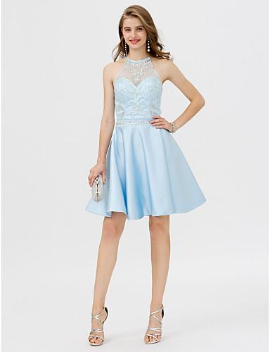 0f937d17d379 Linea-A Con decorazione gioiello Al ginocchio Raso Retro dell abito ...