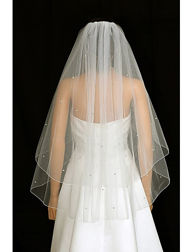 Kétkapcsos Menyasszonyi fátyol Pironkodó (blusher) fátylak / Ujjakig érő fátyol val vel Strasszkő / Ráncolt Tüll / Angyal / Vízesés szabású