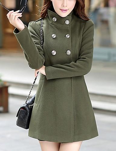 رخيصةأون أفضل البائعين-نسائي أحمر نبيذ أخضر داكن XL XXL XXXL معطف أساسي لون سادة مرتفعة