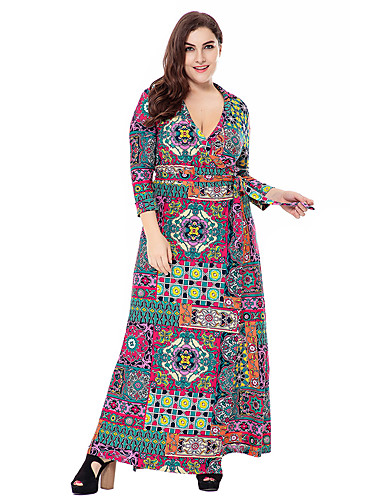 Women's Plus Size Party / Going out Boho / Sophisticated Loose / Sheath / Swing Dress - Floral / Geometric / Paisley Print Maxi V Neck