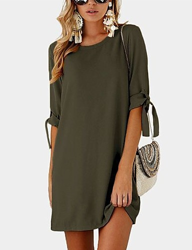 Women's Shift Dress - Solid Colored Bow