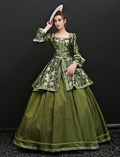 ราคาถูก Toys & Hobbies-Rococo โบว์ Victorian ศตวรรษที่ 18 หนึ่งชิ้น ชุดเดรส Party Costume Masquerade บอลล์กาวน์ สำหรับผู้หญิง เครื่องแต่งกาย สีเขียว Vintage คอสเพลย์ ซาติน ปาร์ตี้ Prom แขนยาว 3/4 ลากพื้น บอลกาวน์