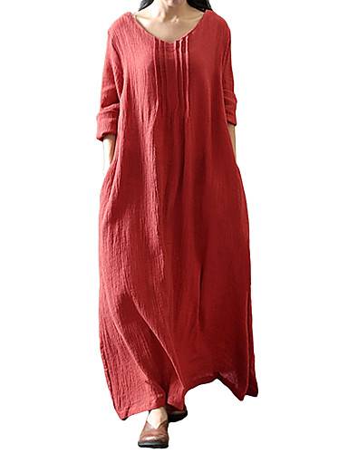 7f73458b684 Women's Plus Size Tunic Dress - Solid Colored Maxi U Neck / Loose