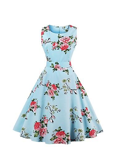 9e994899f5634 Women's Plus Size Party Going out Vintage Swing Dress Pleated Print Cotton  Light Blue Light gray