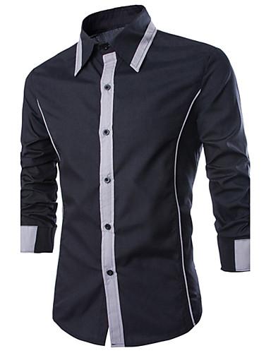 c35e61deda7 Pánské - Barevné bloky Košile Bavlna Štíhlý Černá a šedá   Dlouhý rukáv