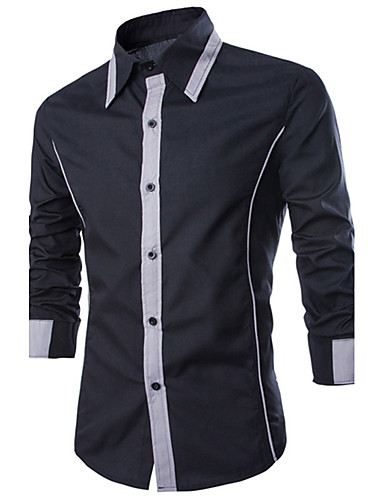 Men's Cotton Slim Shirt - Color Block Black & Gray