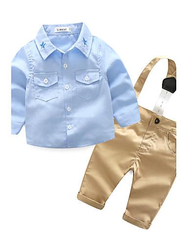 Недорогие Лидеры продаж-малыш Мальчики Повседневные Сплошной цвет / Вышивка Длинный рукав Набор одежды Синий