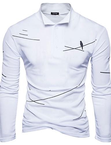 Men's Cotton Polo Print Shirt Collar