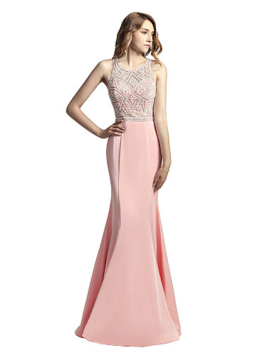 Mermaid / Trumpet Jewel Neck Floor Length Mikado Cocktail Party / Prom / Formal Evening Dress with Beading by LAN TING Express