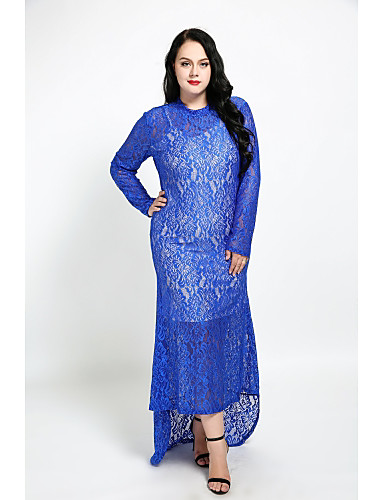 Cute Ann Women's Plus Size Cute Sheath Dress - Solid Colored Lace Maxi