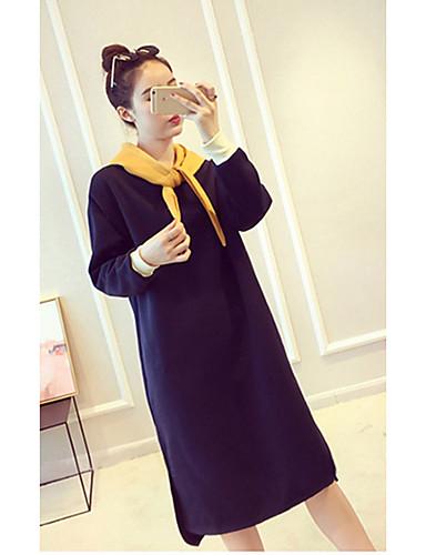 Damen Etuikleid Kleid-Ausgehen Lässig/Alltäglich Einfach Retro Solide Einfarbig V-Ausschnitt Übers Knie Langarm Baumwolle Andere Hohe