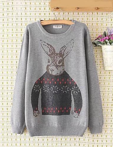 Damen Standard Pullover-Ausgehen Lässig/Alltäglich Solide Druck Rundhalsausschnitt Langarm Baumwolle Andere Dünn Mittel Mikro-elastisch