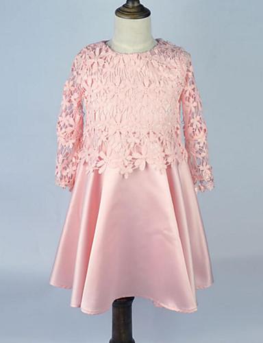 Sukienka Bawełna Dziewczyny Urodziny Wyjściowe Jendolity kolor Kwiaty Koronka Printing Bez rękawów Urocza Na co dzień Księżniczka