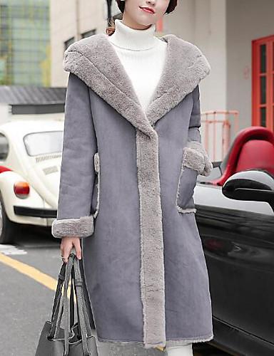 Damen - Solide Einfach / Freizeit Ausgehen Mantel, Hemdkragen Baumwolle / Winter