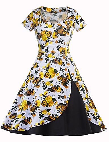Damskie Linia A Sukienka swingowa Sukienka Nadruk Kwadratowy dekolt