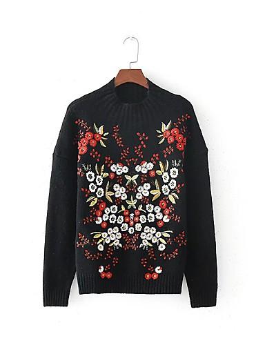 Damen Standard Pullover-Lässig/Alltäglich Ausgehen Solide Rundhalsausschnitt Langarm Andere Dick Mittel Dehnbar