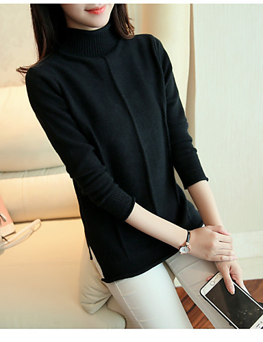 Damen Kurz Pullover-Freizeitskleidung Solide Rundhalsausschnitt Langarm Wolle Winter Herbst Mittel Mikro-elastisch