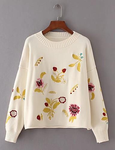 Damen Standard Pullover-Lässig/Alltäglich Druck Rundhalsausschnitt Langarm Wolle Andere Dünn Dehnbar