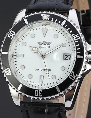 WINNER Męskie Nakręcanie automatyczne zegarek mechaniczny Zegarek na nadgarstek Kalendarz Skóra Pasmo Luksusowy Na co dzień Do sukni /