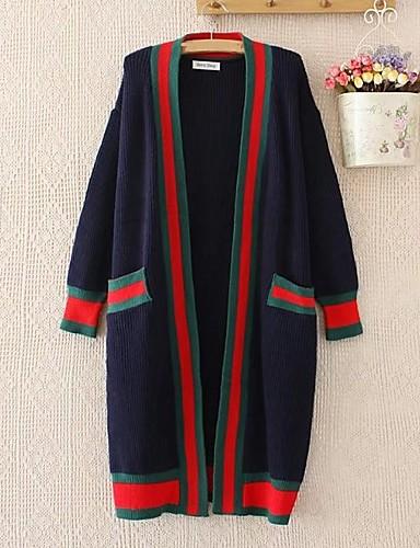 Damen Lang Strickjacke-Ausgehen Lässig/Alltäglich Solide Gestreift Einfarbig V-Ausschnitt Langarm Baumwolle Andere Dünn Mittel