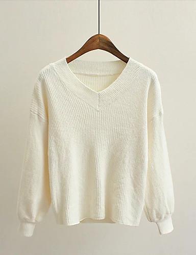 Damen Lang Pullover-Ausgehen Lässig/Alltäglich Solide V-Ausschnitt Langarm Baumwolle Mittel Mikro-elastisch