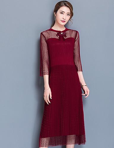 Damen Spitze Kleid-Ausgehen Solide Rundhalsausschnitt Midi 3/4 Ärmel Polyester Mittlere Hüfthöhe Mikro-elastisch Mittel