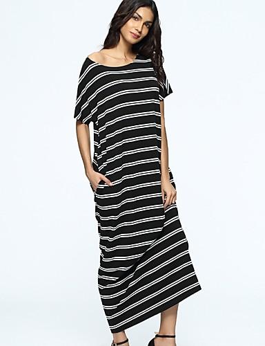 baratos Vestidos Longos-Mulheres Algodão Túnicas Vestido Listrado Longo / Solto