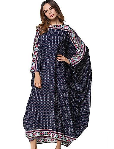 Damen Swing Kleid-Lässig/Alltäglich Punkt Rundhalsausschnitt Maxi Langärmelige Polyester Alle Jahreszeiten Mittlere Hüfthöhe