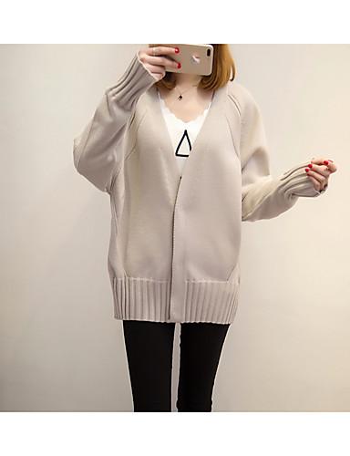 Damen Standard Strickjacke-Lässig/Alltäglich Einfach Solide V-Ausschnitt Langarm Baumwolle Mittel Mikro-elastisch