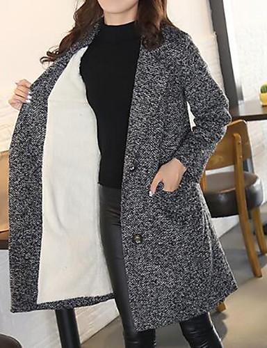 Damen Solide Einfach Retro Street Schick Lässig/Alltäglich Arbeit Übergröße Mantel Winter Langarm Lang Andere