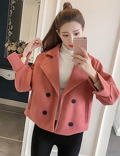 Damen Solide Einfach Lässig/Alltäglich Mantel,V-Ausschnitt Herbst Winter Langarm Standard Polyester
