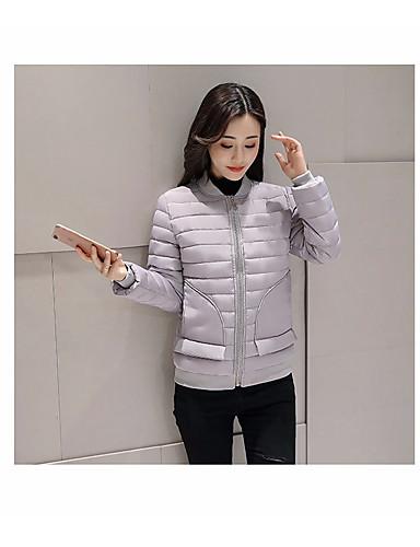 Damen Daunenjacke Mantel,Standard Freizeit Alltag Ausgehen Solide-Andere Langarm