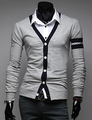 Herren Standard Strickjacke-Lässig/Alltäglich Einfarbig V-Ausschnitt Langarm Polyester Mittel Mikro-elastisch