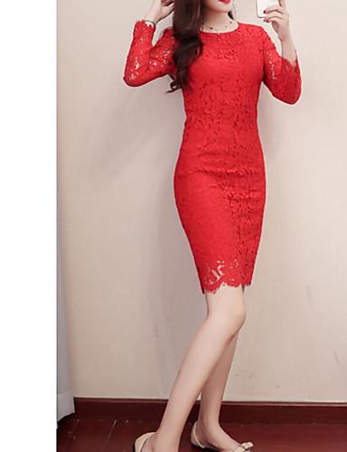 Damskie Rozmiar plus Pochwa Sukienka - Jendolity kolor, Vintage Style Do kolan