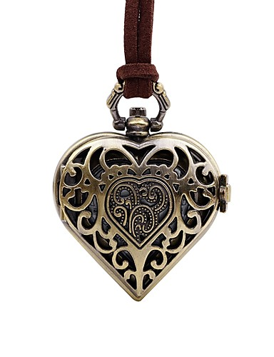 Damskie Kwarcowy Zegarek kieszonkowy Chiński Na codzień Skóra Pasmo Heart Shape Vintage Brązowy